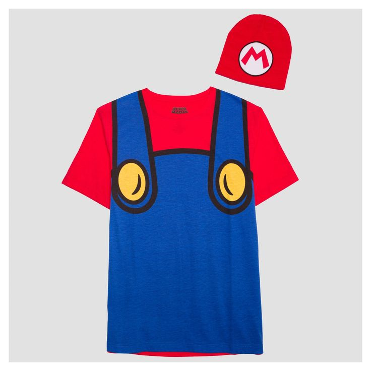 """Target Men's - """"Mamma mia!"""" The Nintendo® Mario Graphic T-Shirt with Hat looks just like the outfit of the iconic video game character. This cool tee features the overalls, shirt and buttons of Super Mario himself, and it even comes with a matching Mario hat. Wear with jeans and sneaks for a quick gamer outfit, or add white gloves and a big moustache for a complete Mario costume."""