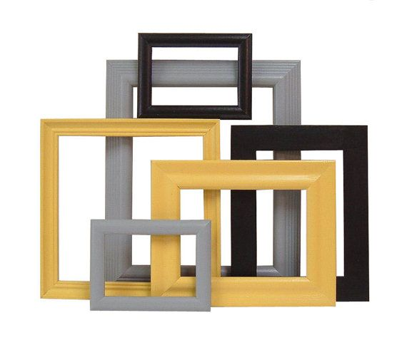 Picture Frames Mustard Yellow Black Grey Gray Frame Set