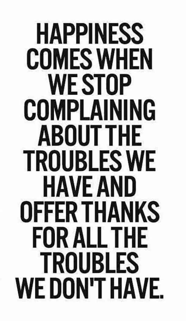 """""""Happiness comes when we stop complaining about the troubles we have an offer thanks for all the troubles we don't have.""""- Unknown"""