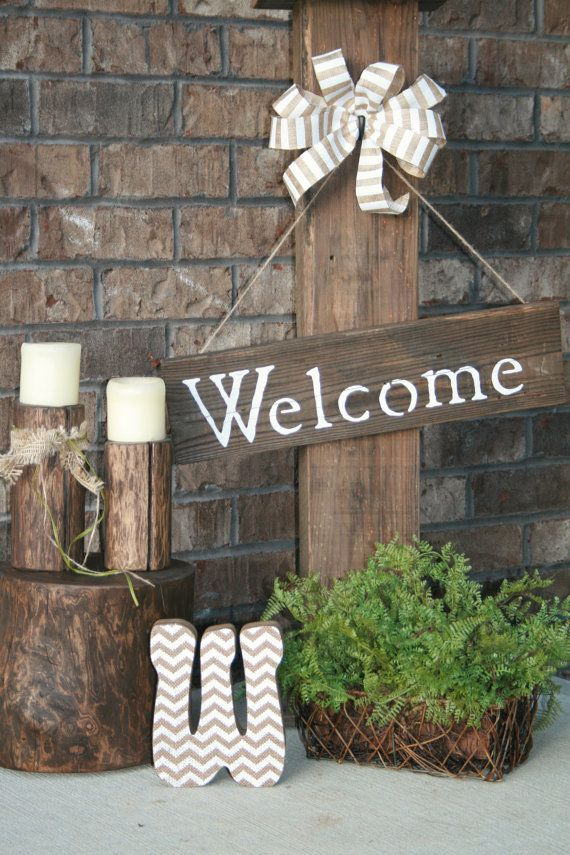 Front porch sign welcome sign rustic porch for the home for Rustic front porch
