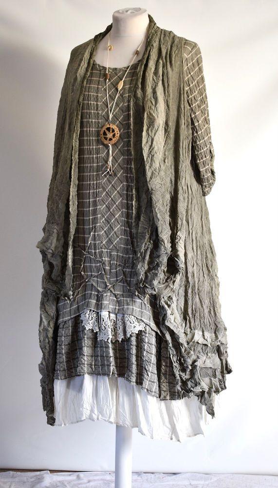 GERMAN ZEDD.PLUS quirky/lagenlook TAUPE check RUFFLE FRILL dress/ jacket  XL/XXL #ZEDDPLUS #dress