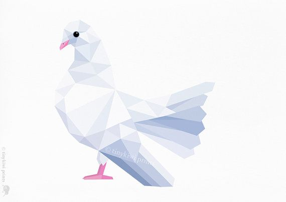 Dove, White dove, Pigeon, Fantail pigeon, Geometric print, Original illustration, Animal print, Minimal art, Nursery wall art - $10.99
