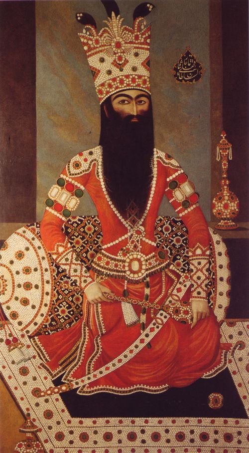 Mihr Ali, Fath 'Ali Shah, seated on a jeweled carpet, 1800-1805