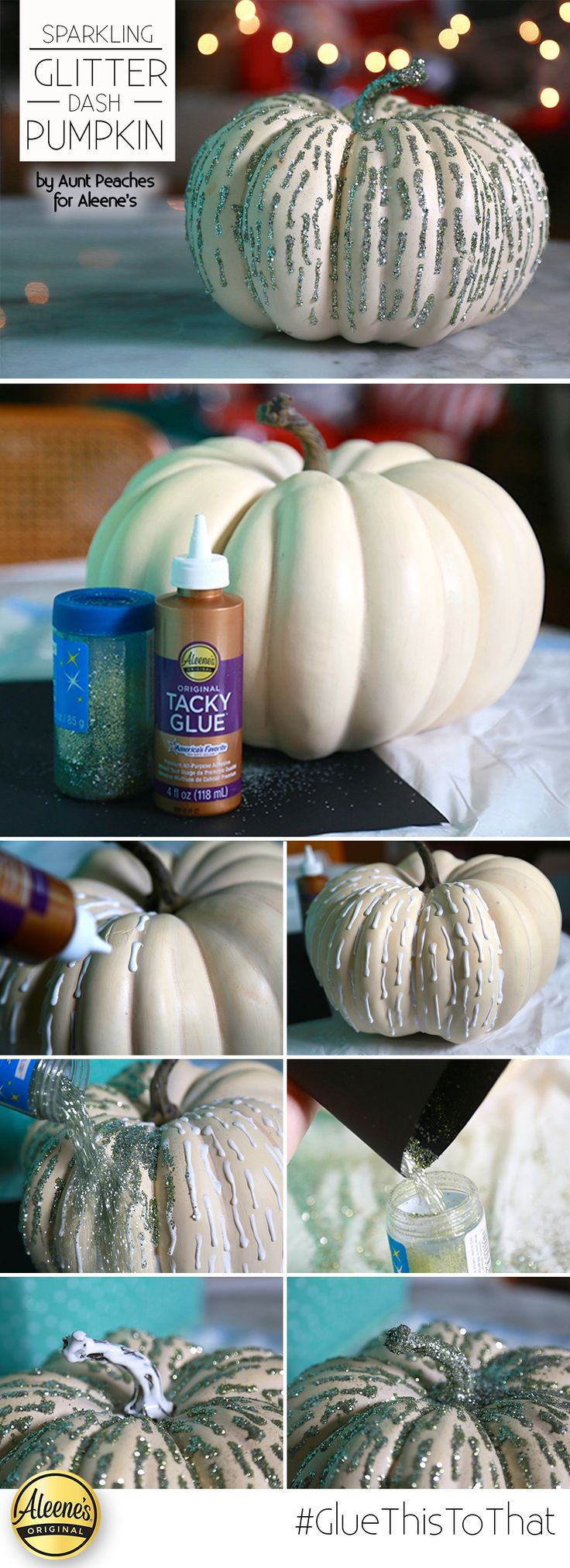 Make this awesome glitter pumpkin with some Aleene's Tacky Glue and glitter. The…