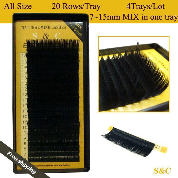 Alle größe, 4 fälle, 7~15mm mischen in ein fach, 20 Reihen/Fach, nerz wimpernverlängerung, natürlichen wimpern, einzelnen falschen wimpern