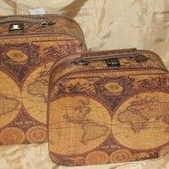"Decoratiuni vintage - Set cutii valize ""Old map"""