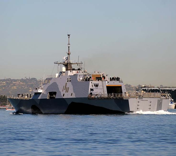 """Littoral Combat Ship -This USS Freedom LCS-1 was commissioned in 2008 as a smaller, multipurpose ship that operates near the shore, hence the name """"littoral"""" for the littoral zone. These ships are complete with BAE Systems Mk 110 57 mm guns as well as an Mk 49 launcher."""