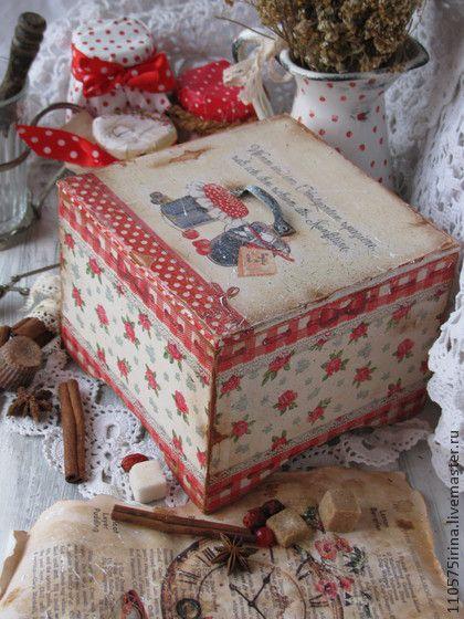 `Сonfiture....`  Короб.. Деревянный короб в стиле Кантри. В коробе можно хранить травы, чай, кофе, печенье, конфеты, сухофрукты.   Внутри короб не обработан.
