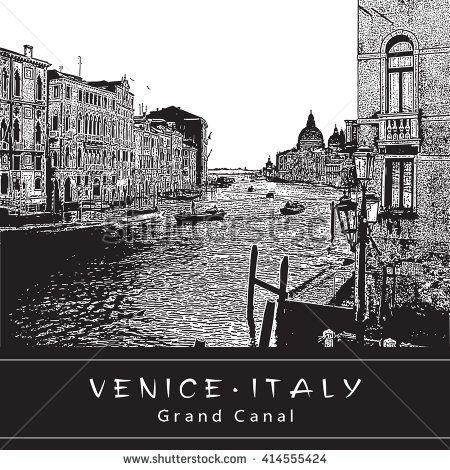 Grand Canal in Venice, Italy. Black and white vector engraved Image.  EPS 10. Easy editable image. Result of Auto-Trace.