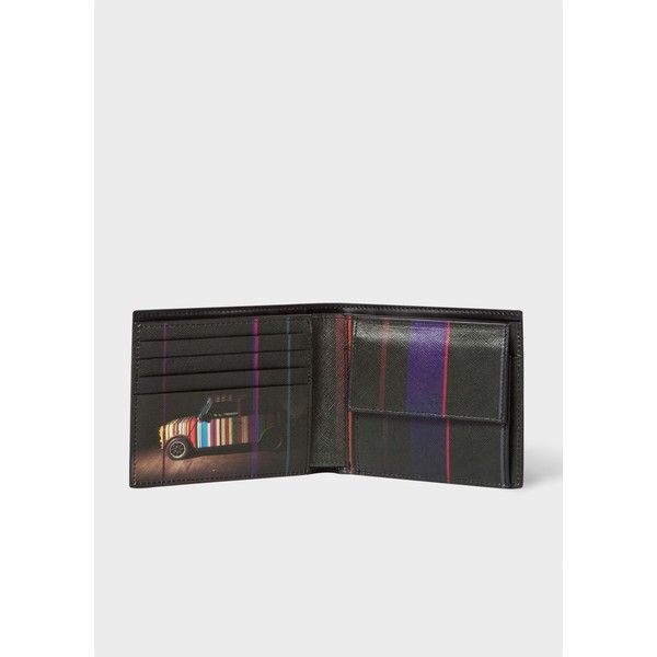 Paul Smith Men's Black Leather 'Mini' Print Interior Billfold And Coin... (3.689.425 IDR) ❤ liked on Polyvore featuring men's fashion, men's bags, men's wallets, black, mens billfold wallets, mens credit card holder wallet, mens leather snap wallet, mens leather wallets and mens wallet