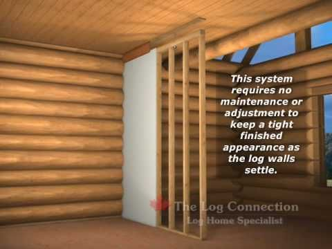 Installation of frame walls in your log home by The Log Connection. - YouTube