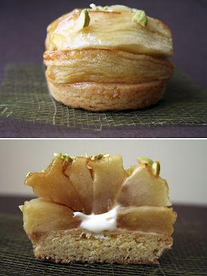 caramelized roasted apple tarts with diplomats cream