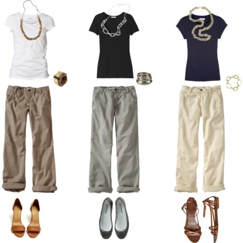 Such an easy and cute way to wear khakis..... Don't forget to throw in a pair of no show socks, a ball cap and tennis shoes for a day of walking or hiking....