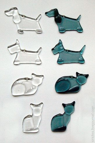 fused glass dogs and cats