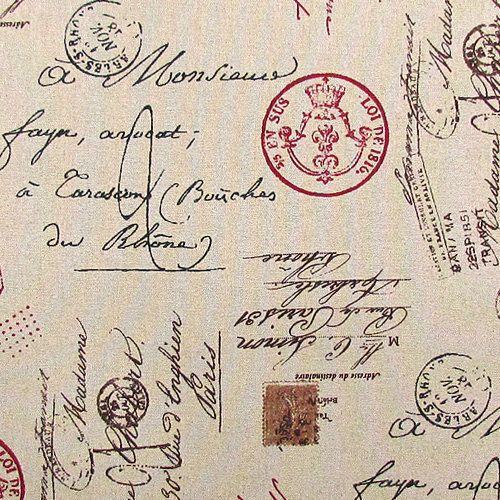 Linen French Script Fabric, Paris Script Fabric, Ruby Red Stamp, Docu ...