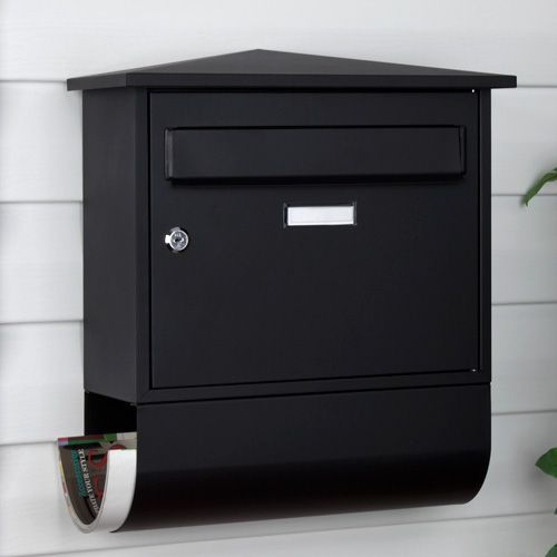 castle locking wall mount mailbox with newspaper roll signature hardware - Wall Mount Mailboxes