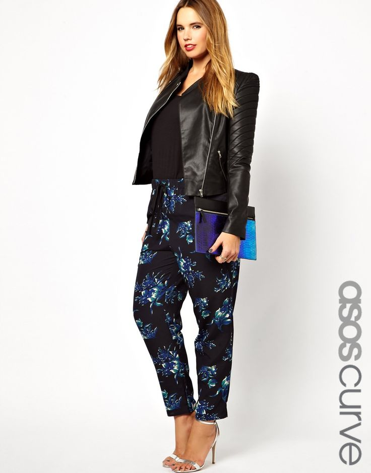 ASOS CURVE - Woven Peg Trouser In Winter Floral