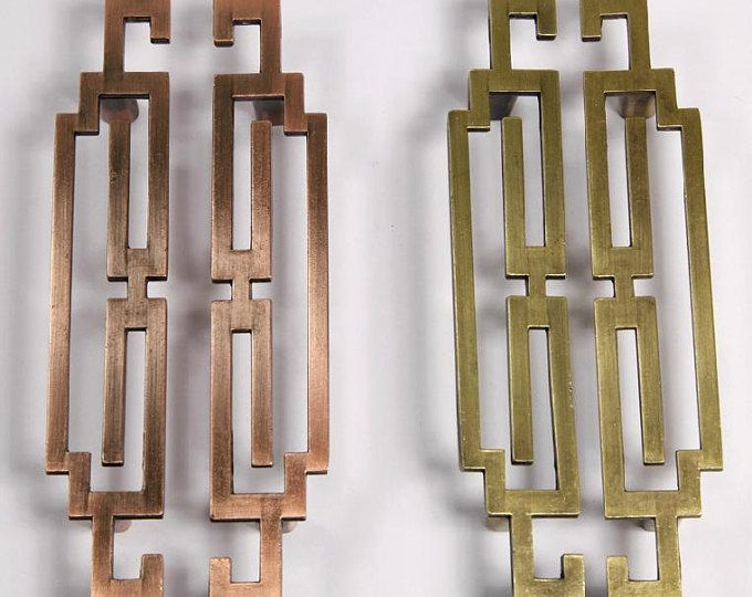 Paar Chinese stijl antiek symmetrie trekt knoppen/lade grepen/omgaat met antiek messing keukenkast Pull/deur handvat/dressoir lade