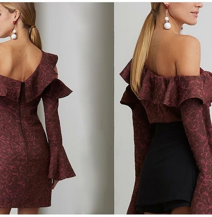 Mona Dress ❤️Knee-length in burgundy with sexy details on arms and neck. The V-neck, shoulder straps and ruffled sleeves make this a must have. SHOP ONLINE www.parlerlamode.com