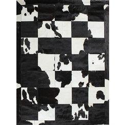 Modern Designer Floor Rug-Spring Bouquet-Spanish Cowhide-230x160cm-Black & White1539.99