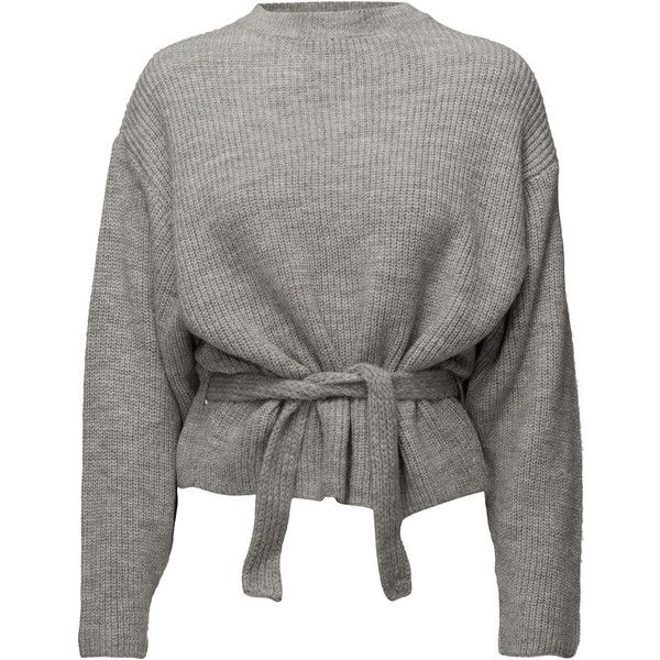 Knit belt sweater ❤ liked on Polyvore featuring tops, sweaters, grey sweater, harness top, gray top, knit belt and gray sweater
