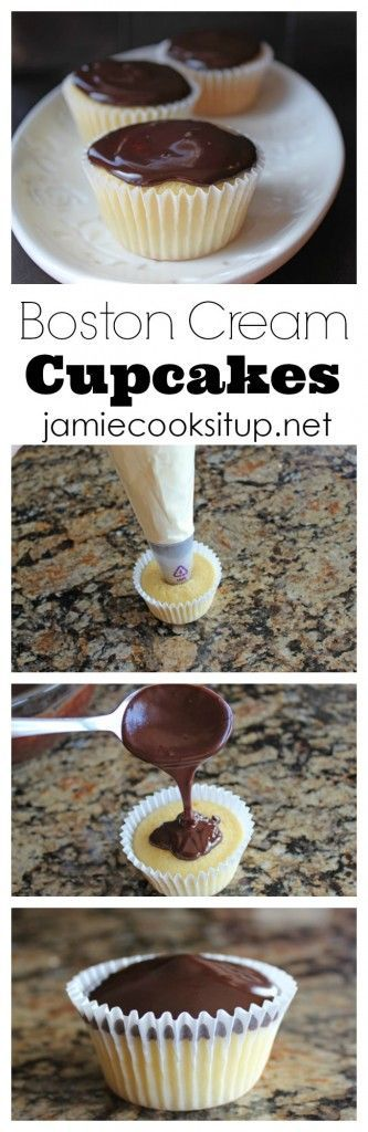 Boston Cream Cupcakes from Jamie Cooks It Up! Man, I love these cupcakes. The cream filling is wonderful and the chocolate ganache divine.