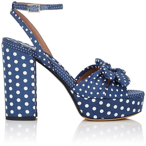 Tabitha Simmons Women's Jodie Polka Twill Platform Sandals (£530) ❤ liked on Polyvore featuring shoes, sandals, navy, block heel platform sandals, strap sandals, block heel sandals, high heels sandals and navy strappy sandals