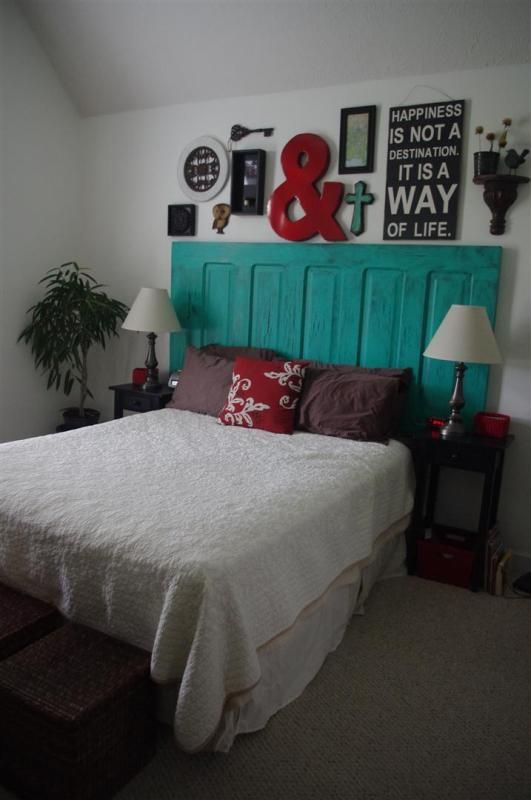 headboard! repurposed door to headboard. Love red and turquoise bedroom