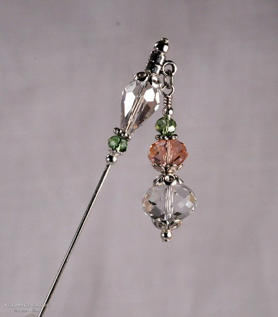 Crystal Stick Pin 3 Inch Charm Stick Pin Dangle by KillamCreative, $6.00