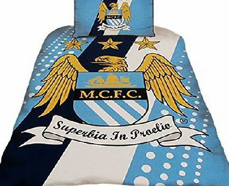 Man City OFFICIAL MANCHESTER CITY MAN CITY FC CREST STRIPE PANEL SPOT SINGLE DUVET SET QUILT COVER BEDDING SI No description (Barcode EAN = 0634397722001). http://www.comparestoreprices.co.uk//man-city-official-manchester-city-man-city-fc-crest-stripe-panel-spot-single-duvet-set-quilt-cover-bedding-si.asp