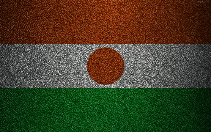Download wallpapers Flag of Niger, Africa, 4k, leather texture, flags of African countries, Niger