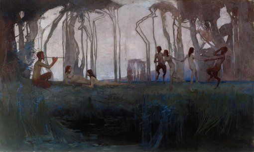 Sydney Long : Pan : 1898  Pan epitomises Long's distinctive vision of the Australian landscape and his Symbolist-inspired visual language of bush idylls, which developed from the stylistic tenets of art nouveau.