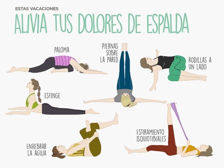 Ejercicios de #yoga para aliviar tus dolores de espalda. #paloma #esfinge #deporte #decathlon #infografía