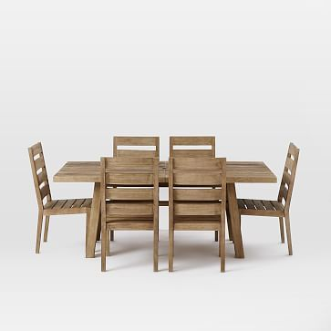 """$1700 Overall product dimensions: 77""""- 98""""w x 39""""d x 30""""h. Overhang: 25.25"""". Tabletop thickness: 2"""". Seats comfortably: 8-10.  Jardine Expandable Dining Set – Table + 6 Chairs #westelm"""