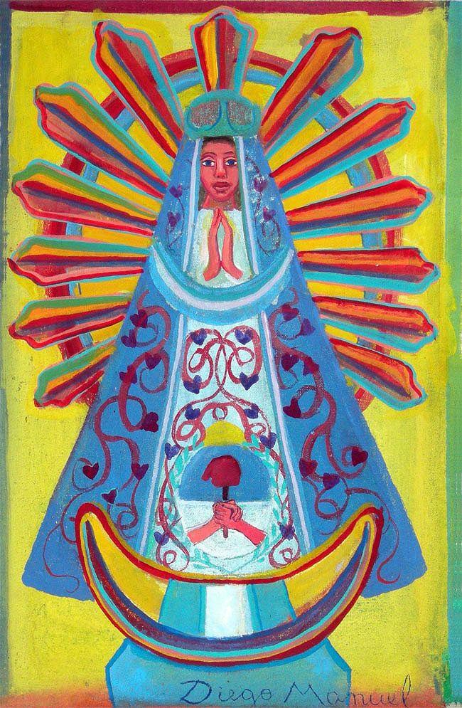 Virgen de Lujan 6, acrylic on canvas. 28 x 18 cm. 2015 painting by Diego Manuel