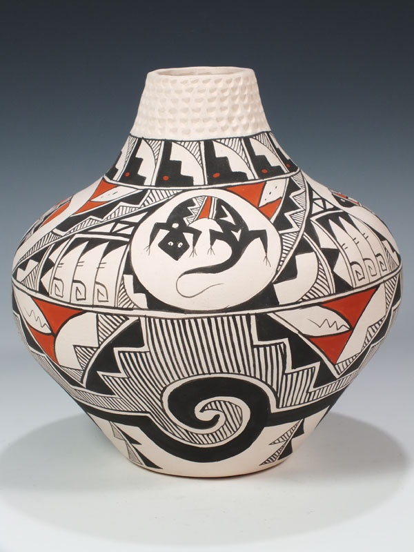 Acoma polychrome pot with corrugated neck banding