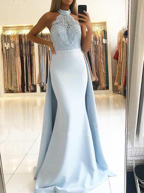 c4791217d44 2019 Mermaid Satin Halter Sleeveless Lace Long Blue Prom Dresses in ...