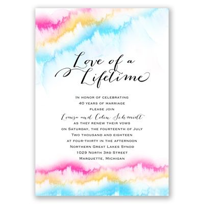 Watercolor Rainbow Vow Renewal Invitation Wedding Trends Invitations Vows