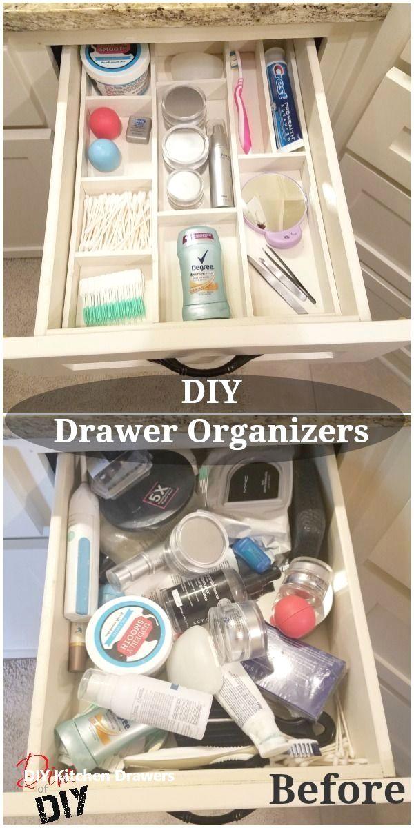 Diy Kitchen Drawer Organizer Ideas In 2020 Diy Drawer Organizer Bathroom Organization Diy Diy Bathroom Storage