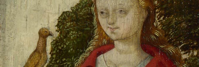 Santa Cecilia: Detail from Workshop of the Master of the Saint Bartholomew Altarpiece, 'The Virgin and Child in Glory with Saints', about 1512,  National Gallery, London