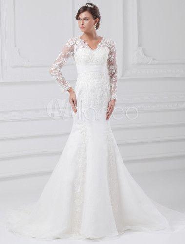 Robe de mariée sirène blanche en dentelle avec col V à traîne courte - Milanoo.com