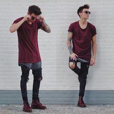 Street Wear camisa que se sale de la otra