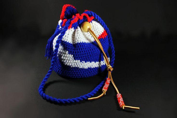 Drawstring Crochet Hobo Bag,  Boho Bag,  Patrotic Handbag, Team Bag. - pinned by pin4etsy.com