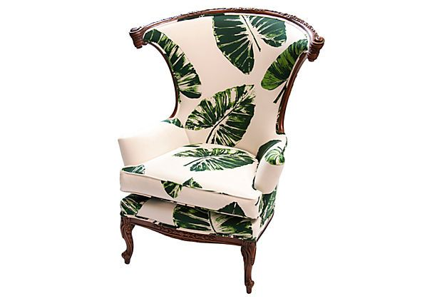 Tropical Leaf Fabric On Chair Banana Leaf Parlor Chair Vintage Chair Updated With Upholstery