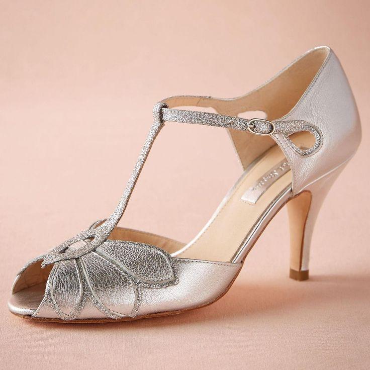 silver wedding shoes glitter pumps mimosa t straps buckle closure regarding silver kitten heel shoes wedding