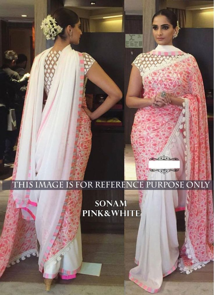 Staggering Sonam Kapoor Off White and Pink Georgette Trendy Saree