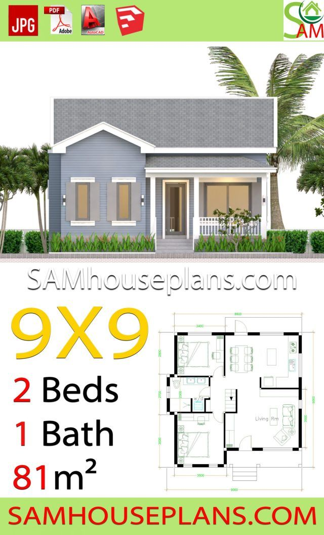 House Plans 9x9 With 2 Bedrooms Gable Roof Gable Roof House House Roof House Plans