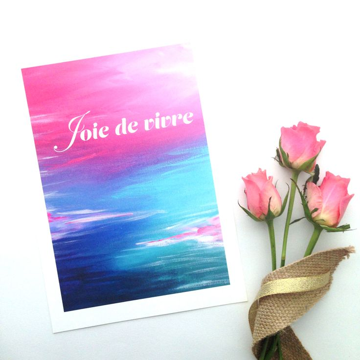 'Joie de vivre' is French forJoy of Living... It includes a section of the 'Evolve'artwork from 'The Journey Collection'an original painting by Mel Boyd. It is an open edition print, A4 size and is printed on beautiful 200gsm museum quality cotton rag with pigment inks.