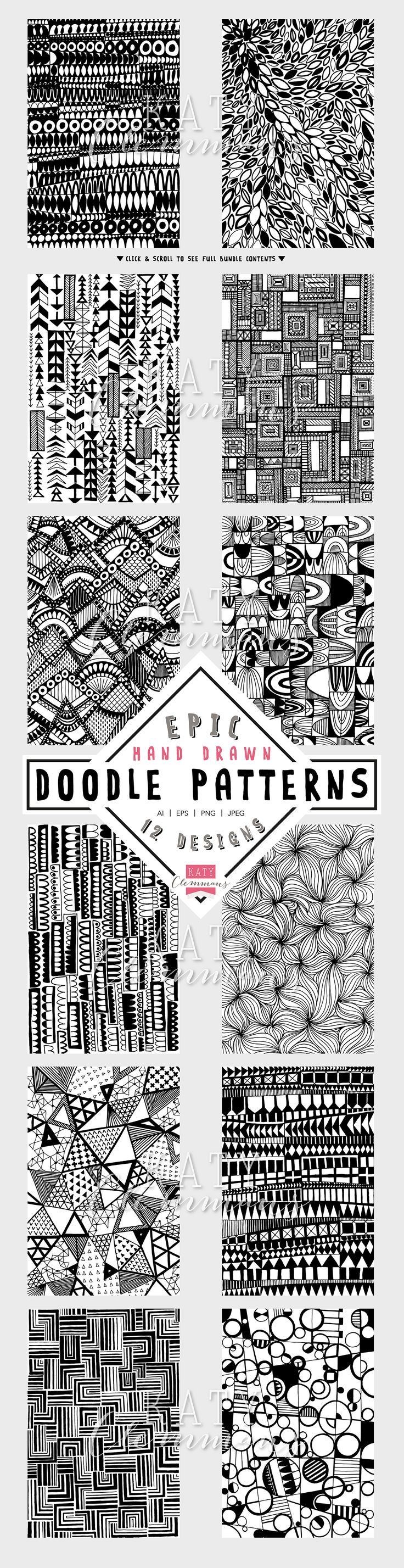 Epic Hand Drawn Doodle Patterns by Katy Clemmans on Creative Market                                                                                                                                                                                 More