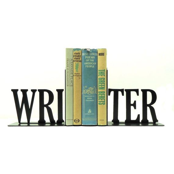 Writer Text Metal Art Bookends - Free USA Shipping